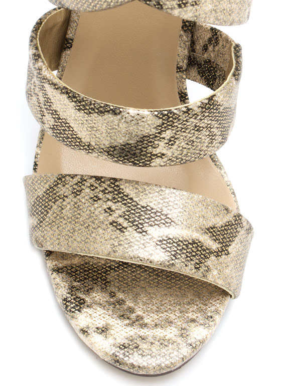 Snaky Crossroad Strappy Heels GOLD
