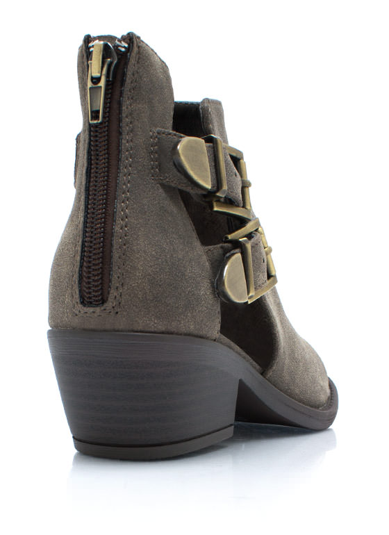 So Strapping Buckled Cut Out Boots TAUPE