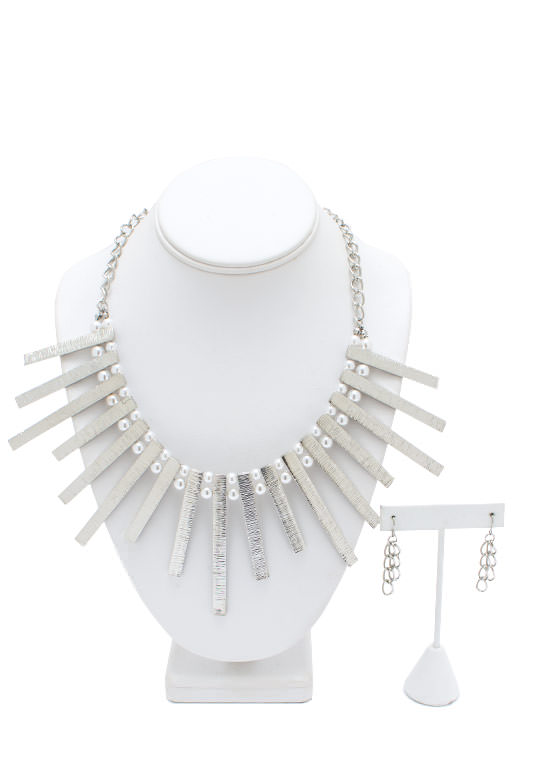 Pearly Tribal Princess Necklace Set SILVERIVRY