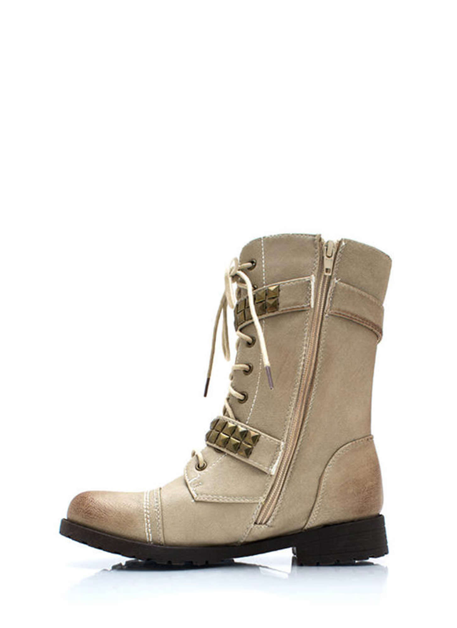 Square Off Studded Combat Boots NATURAL