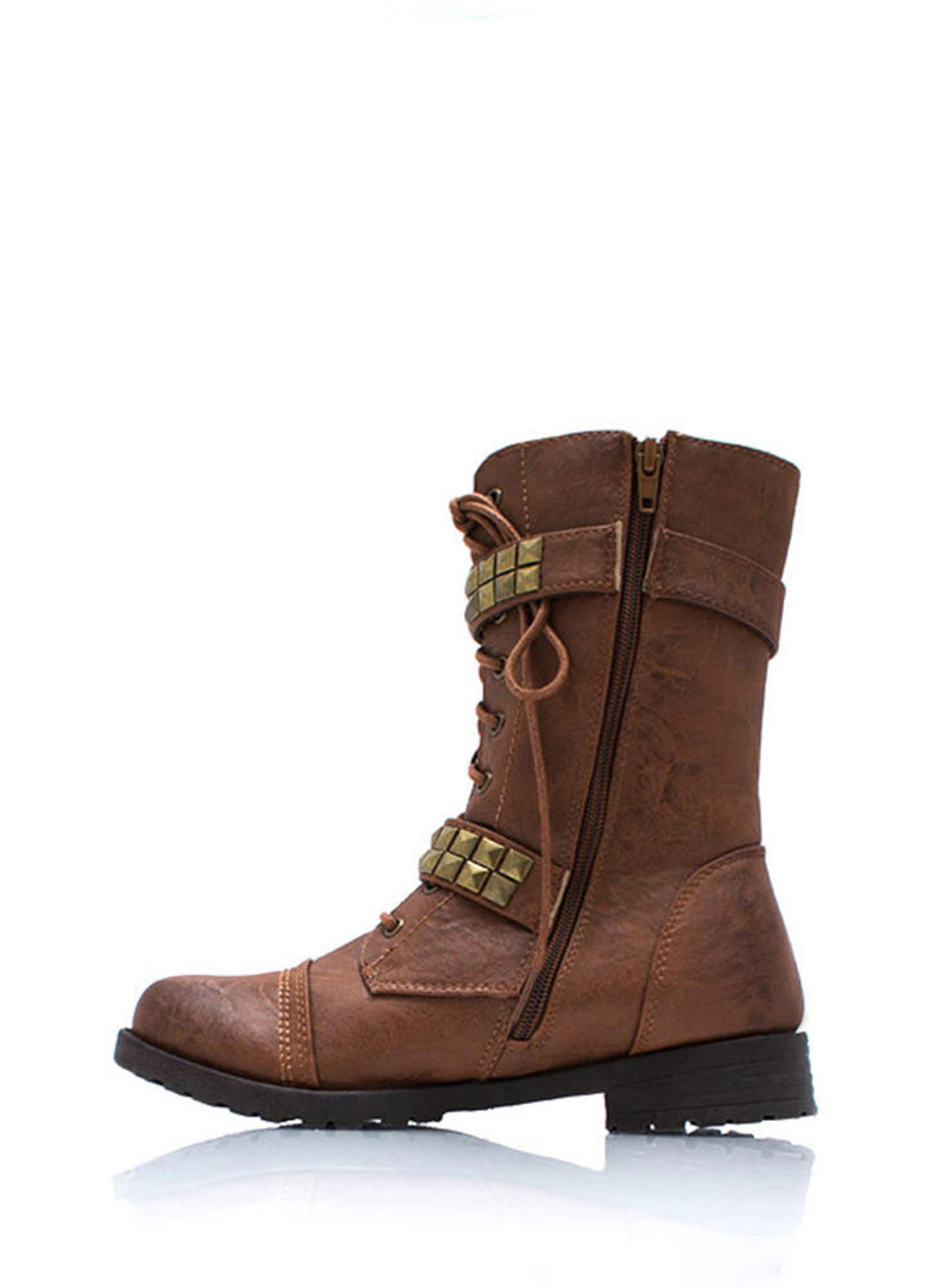 Square Off Studded Combat Boots WHISKY
