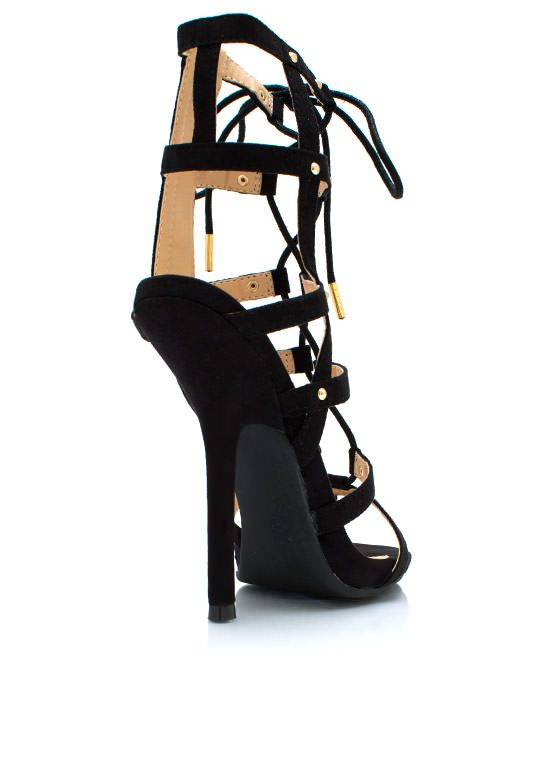 Never Cage Me Studded Heels BLACK