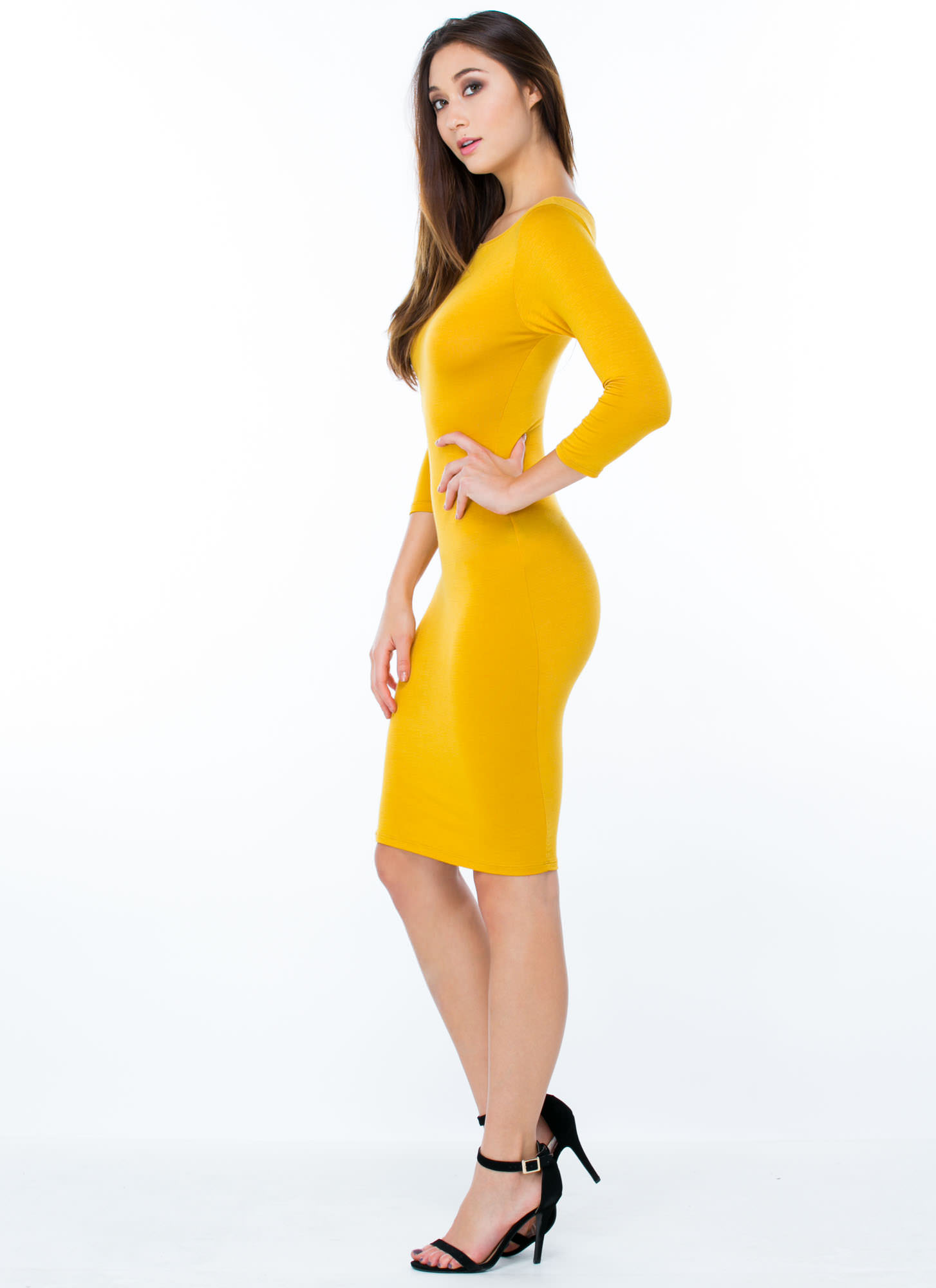 Basically Banging Midi Dress MUSTARD