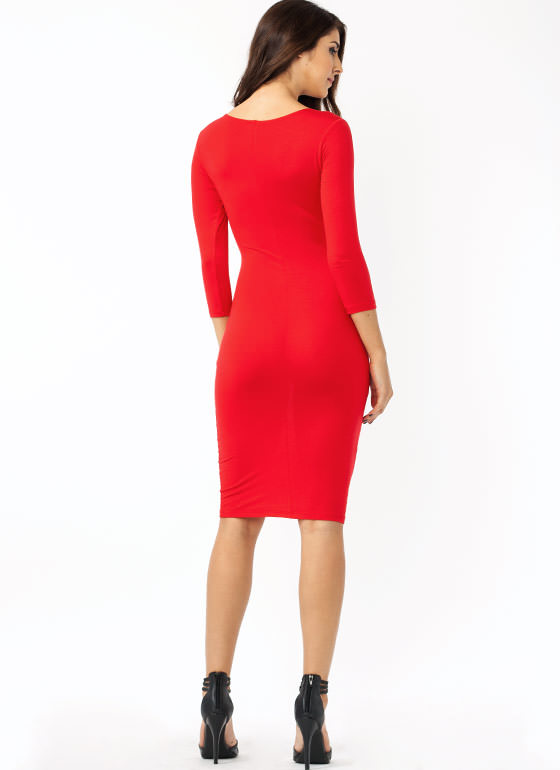 Basically Banging Midi Dress RED