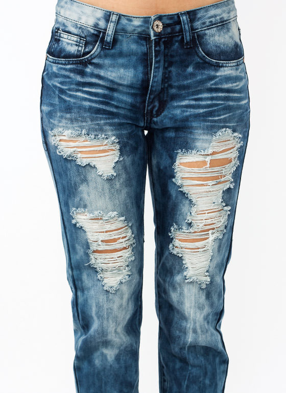 Bleach Bum Destroyed Jeans BLUE