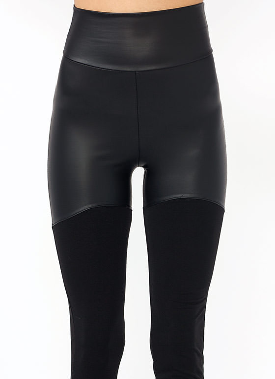 Faux Leather Mix Up Leggings BLACK