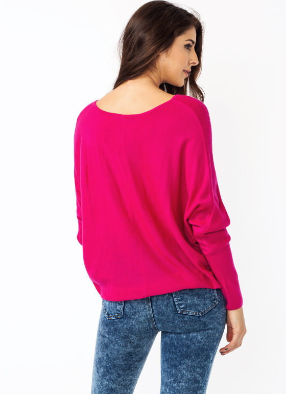 Crossing Over Knit Dolman Sweater MAGENTA