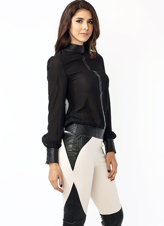 To The T Georgette Blouse BLACK
