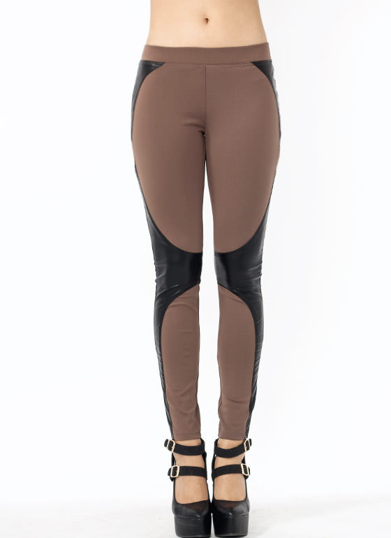 Battle Station Faux Leather Leggings MOCHA