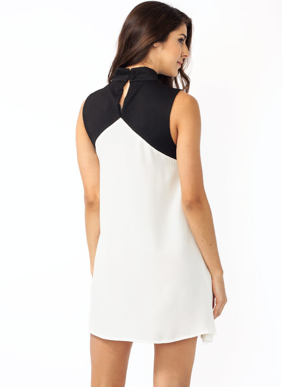Honeycomb Panel Mockneck Dress BLACKWHITE