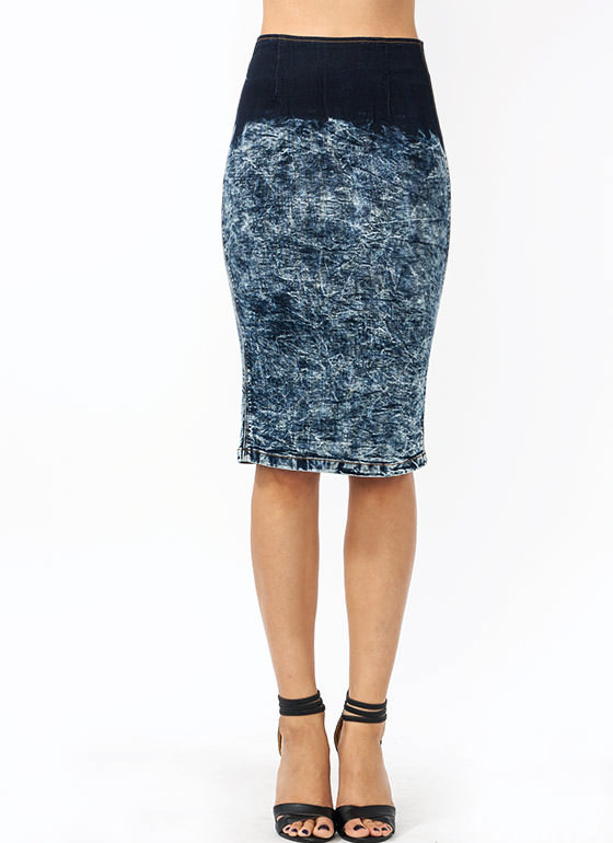 Ombre Acid Wash Pencil Skirt DKBLUE