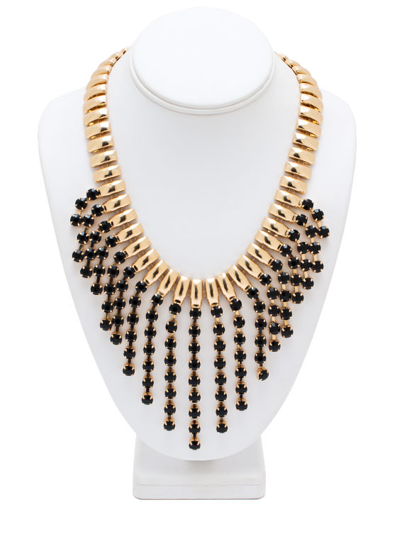 Fall Into Line Faux Gem Necklace GOLDBLACK
