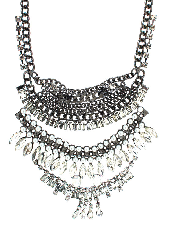 Treasure Chest Jeweled Necklace GUNMETAL
