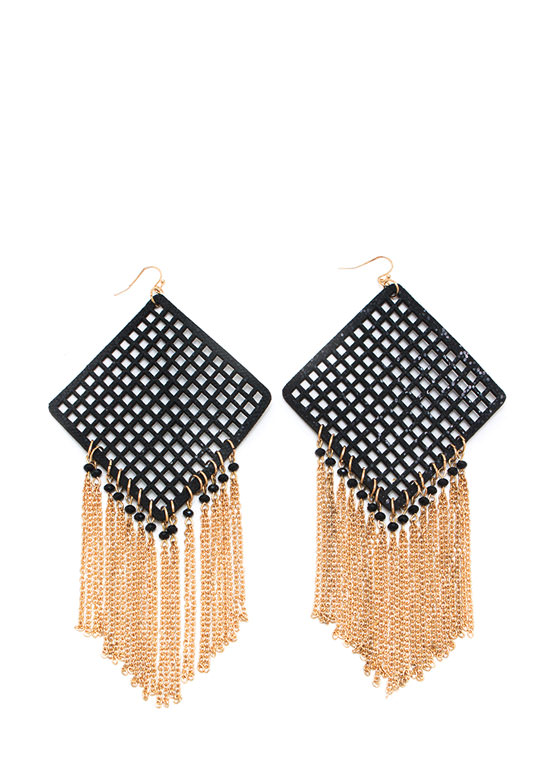 Screen Capture Fringe Earrings BLACKGOLD