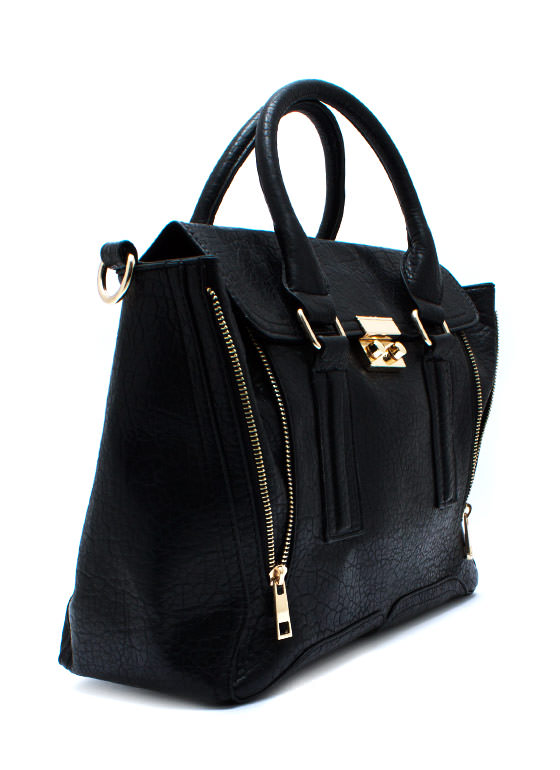 Faux Leather Zipper Duo Satchel BLACK
