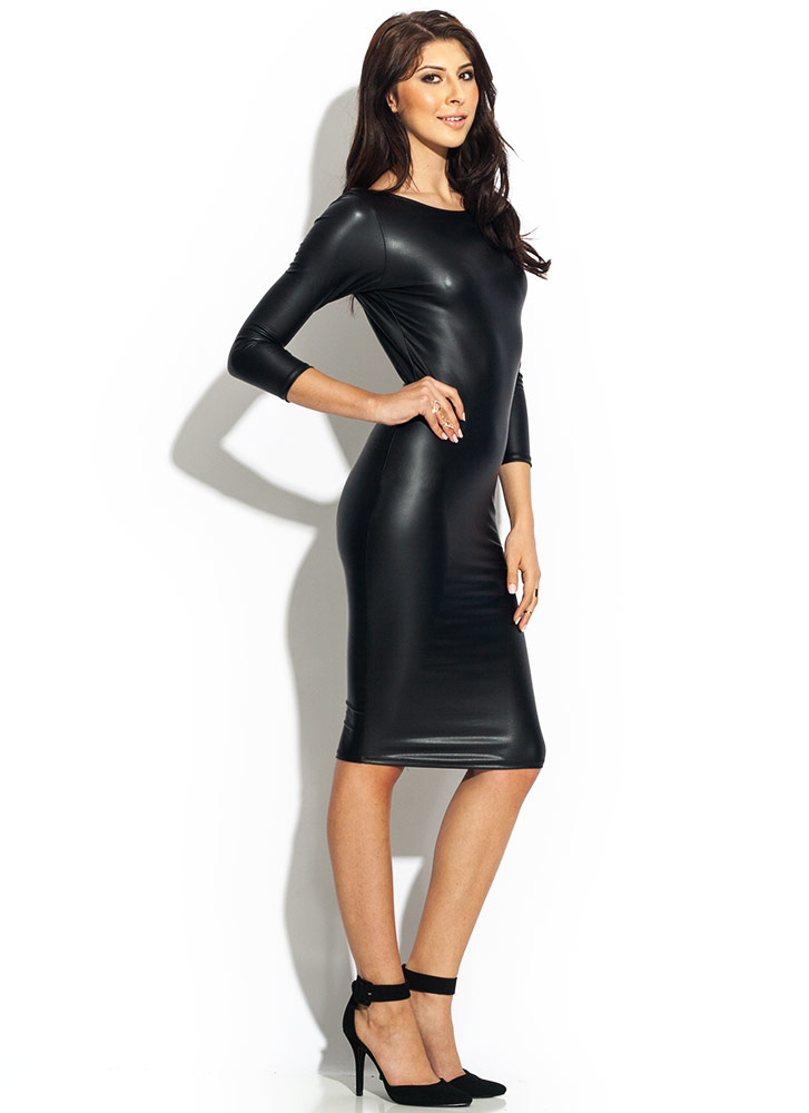 Get The Scoop Faux Leather Dress BLACK