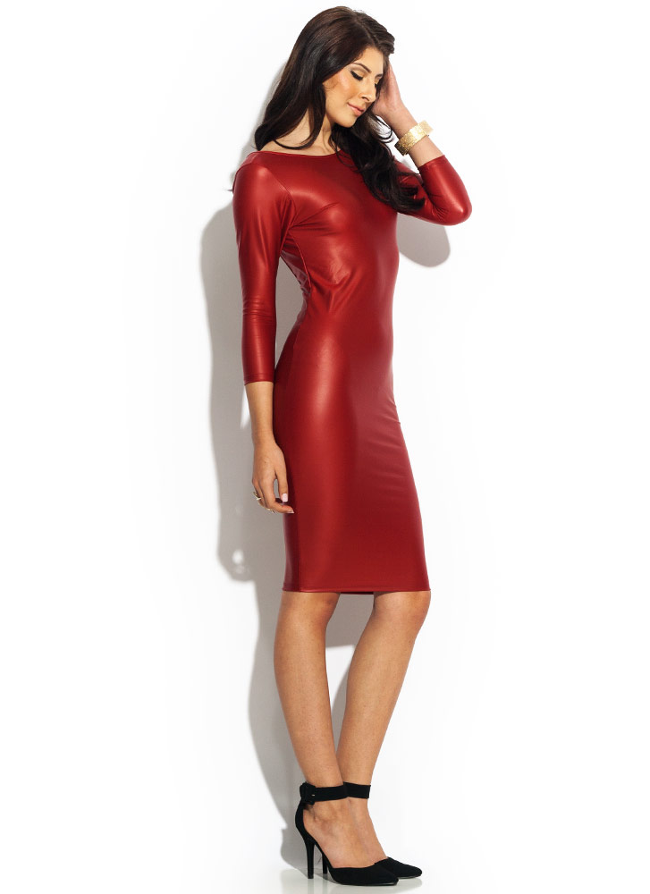 Get The Scoop Faux Leather Dress RED