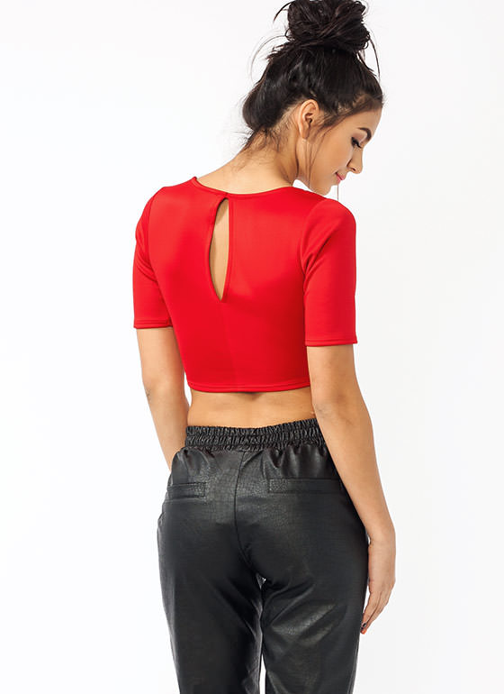 Cross Ur Heart Cropped Top RED