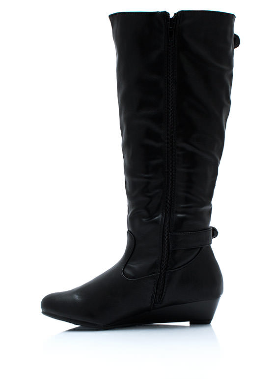 Double Buckle N Zip Boots BLACK