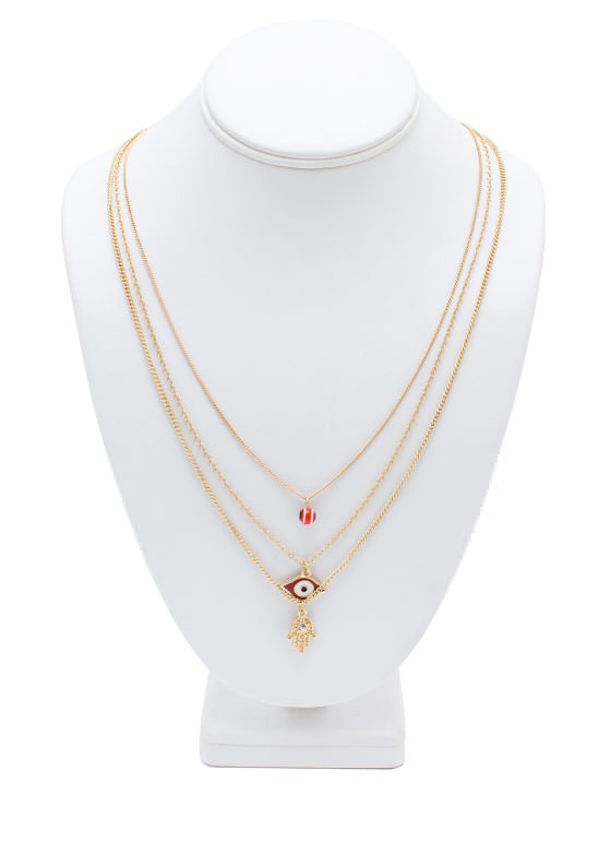 The Eyes Have It Layered Necklace REDGOLD