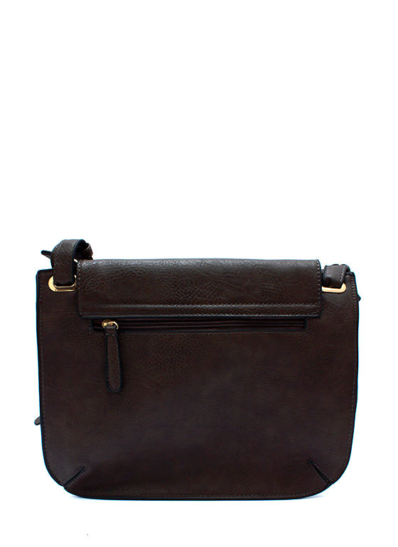 Metal Accent Flat Satchel DKBROWN