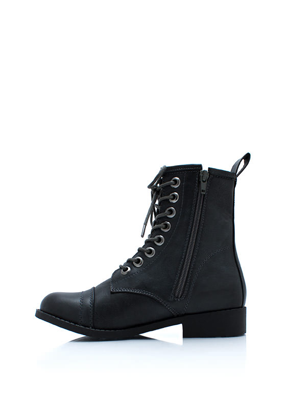 Short And Sweet Combat Boots GREY