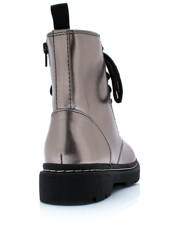 Down And Punky Metallic Boots PEWTERBLACK