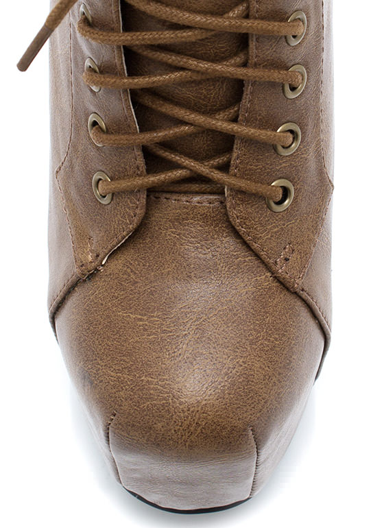Chunky Platform Booties TAN