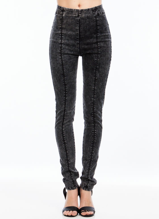 Zipped And Tucked Skinny Jeans BLACK
