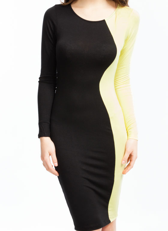Curves Ahead Midi Dress YELLOW