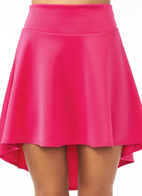 High-Low Skater Girl Skirt FUCHSIA