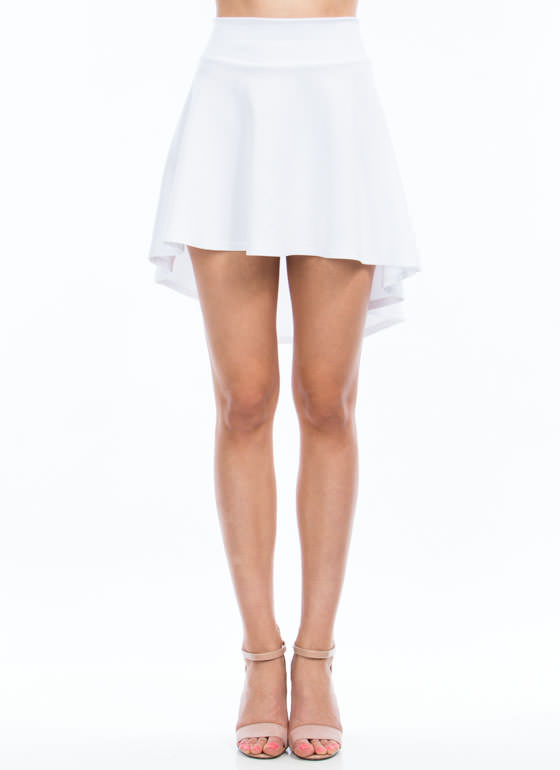High-Low Skater Girl Skirt WHITE