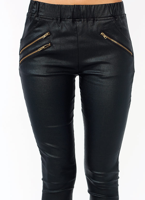 Zippy Coated Skinny Pants BLACK
