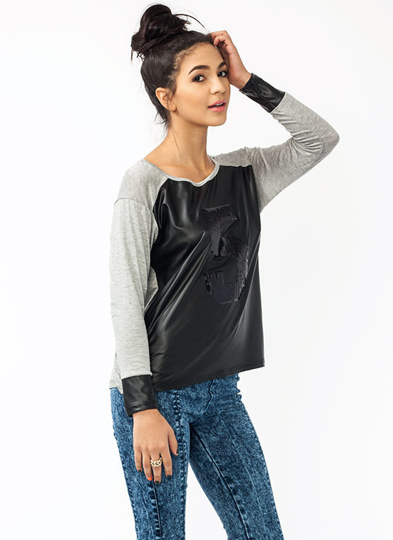 Take Five Sequined Faux Leather Tee HGREYBLACK