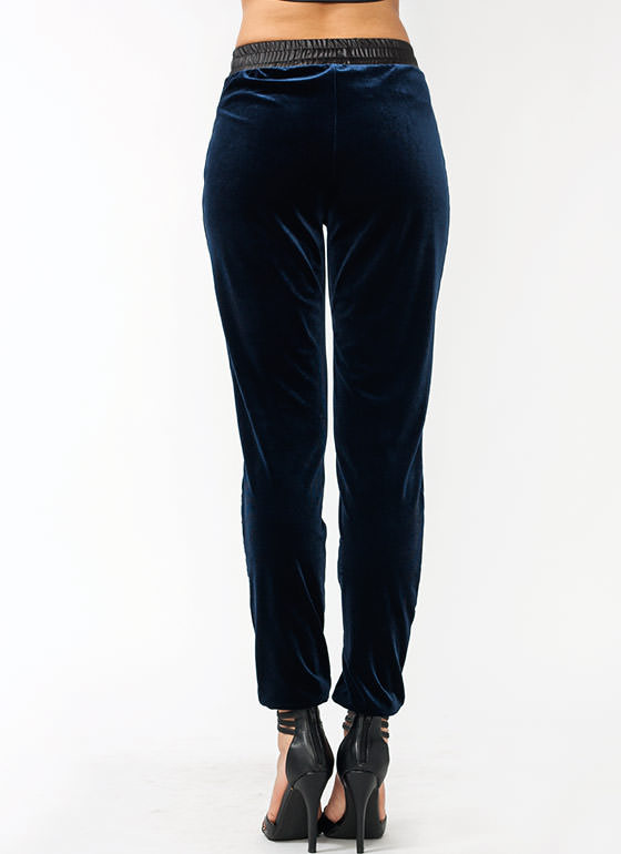 Lounge In Velvet Track Pants NAVY