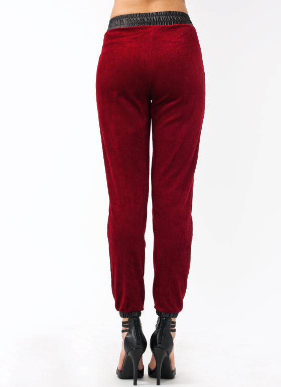 Strike A Cord Corduroy Track Pants DARKRED