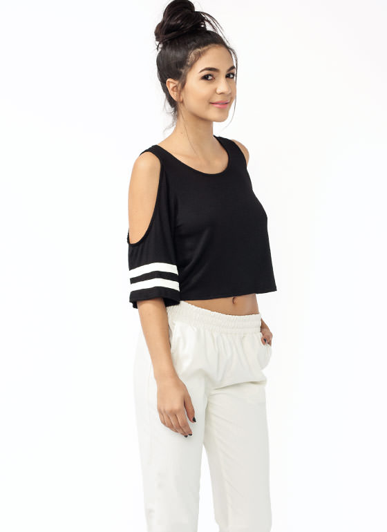 Varsity Cold Shoulder Top BLACK