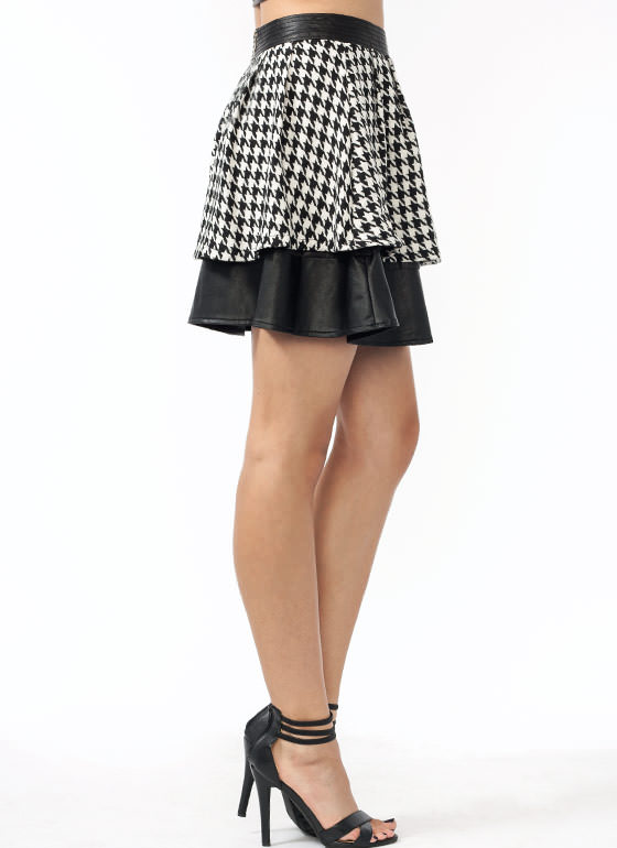 Faux Leather N Houndstooth Skirt BLACKIVORY