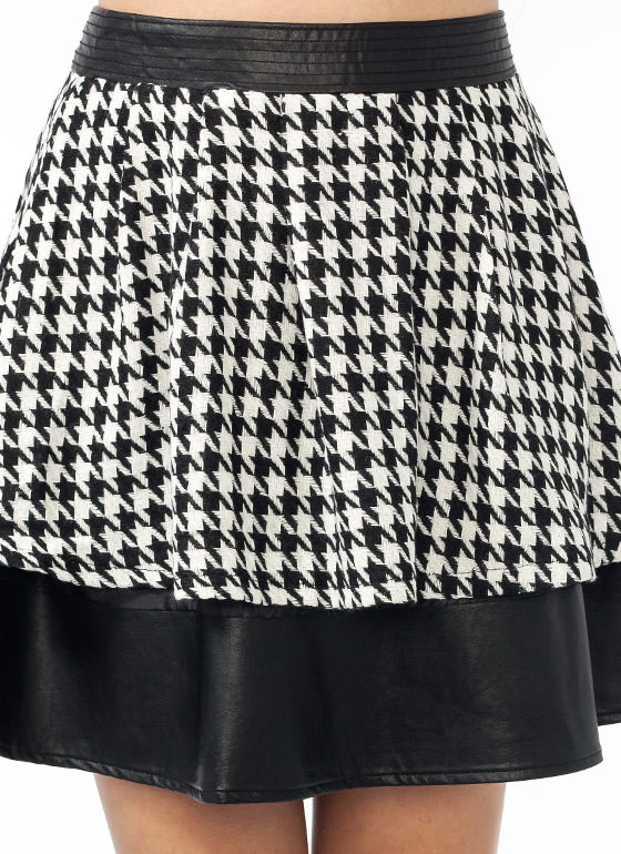 Faux Leather N Houndstooth Skirt BLACKIVORY (Final Sale)
