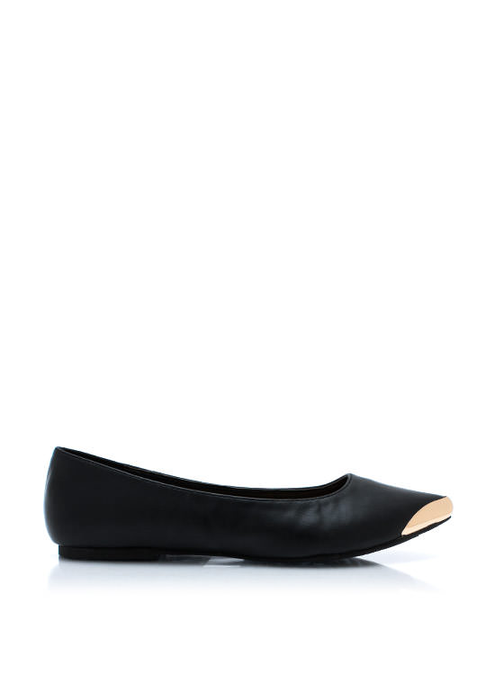 Point Your Toes Faux Leather Flats BLACK