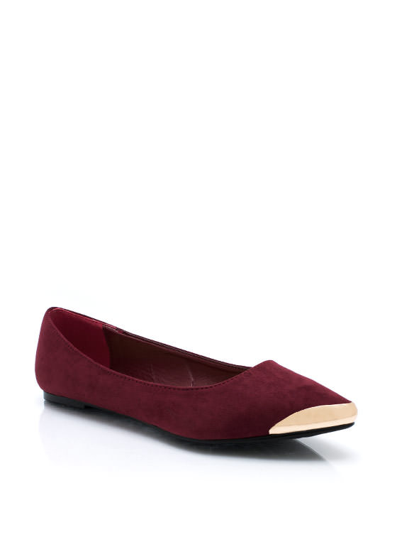 Point Your Toes Faux Suede Flats OXBLOOD