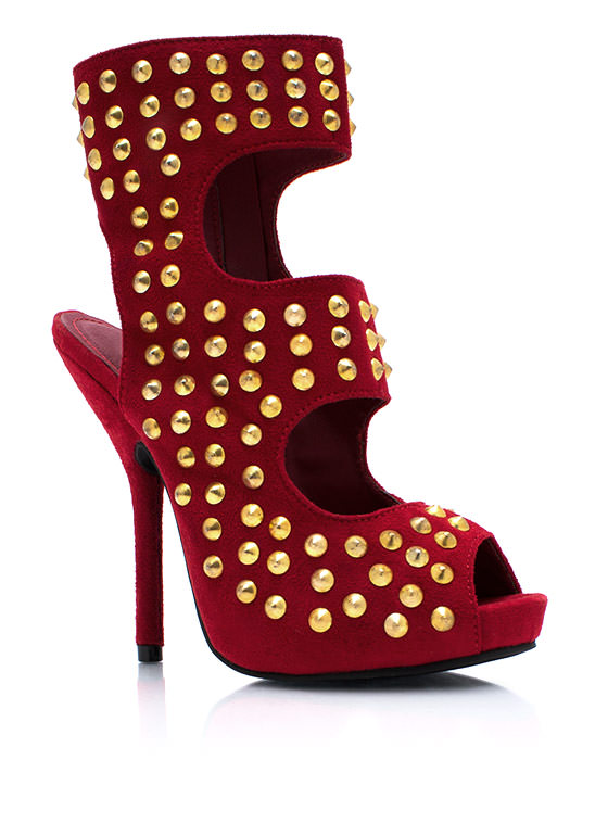 Stack Em Up Studded Cut Out Booties DKRED
