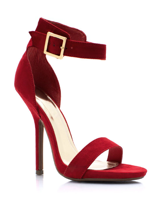 Sleek Peek Faux Suede Heels RED