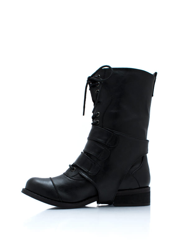 Three Straps Law Buckled Combat Boots BLACK