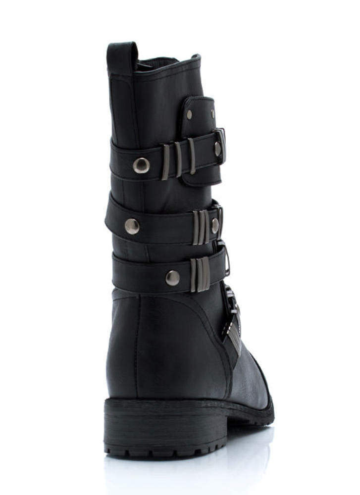 Hardware Show Strappy Boots BLACK