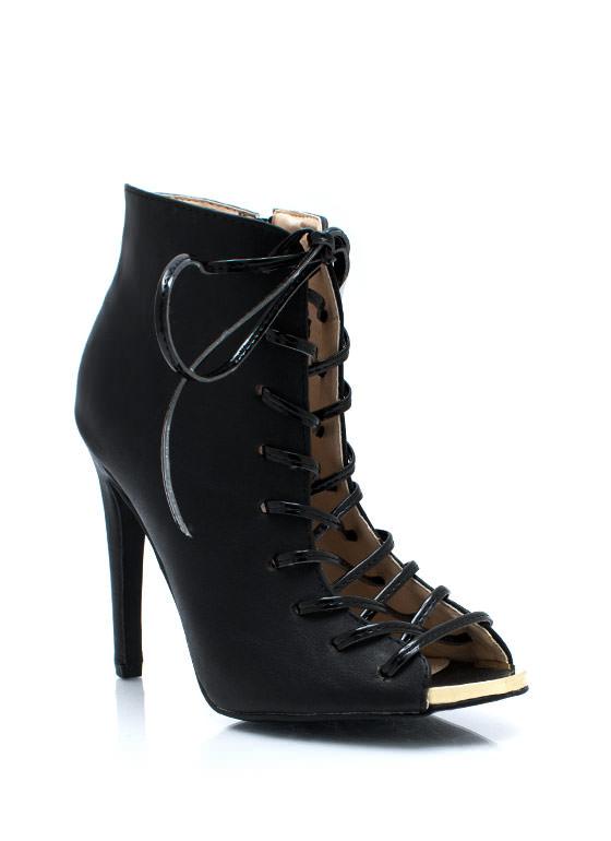 Corset Lace Up Booties BLACK
