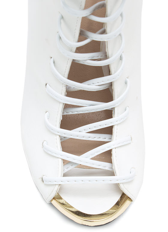 Corset Lace Up Booties WHITE (Final Sale)