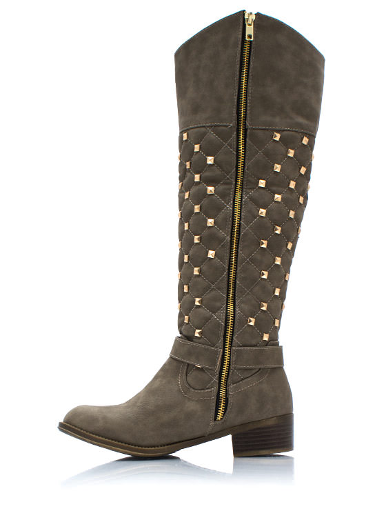 Squared Pyramid Stud Riding Boots TAUPE