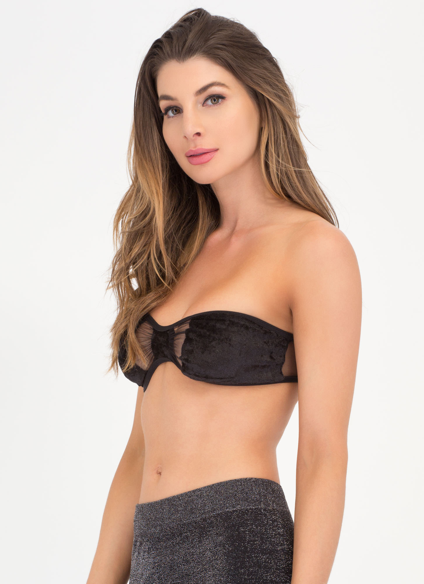 Bow Me Up Velvet Bandeau BLACK