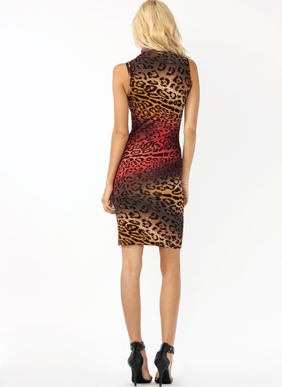Leopard Meets Turtle Midi Dress BURGUNDY